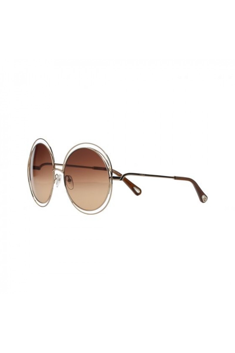 02dc1a22ce385 Chloe - Carlina Round Brown Gradient   Rose Gold Sunglasses