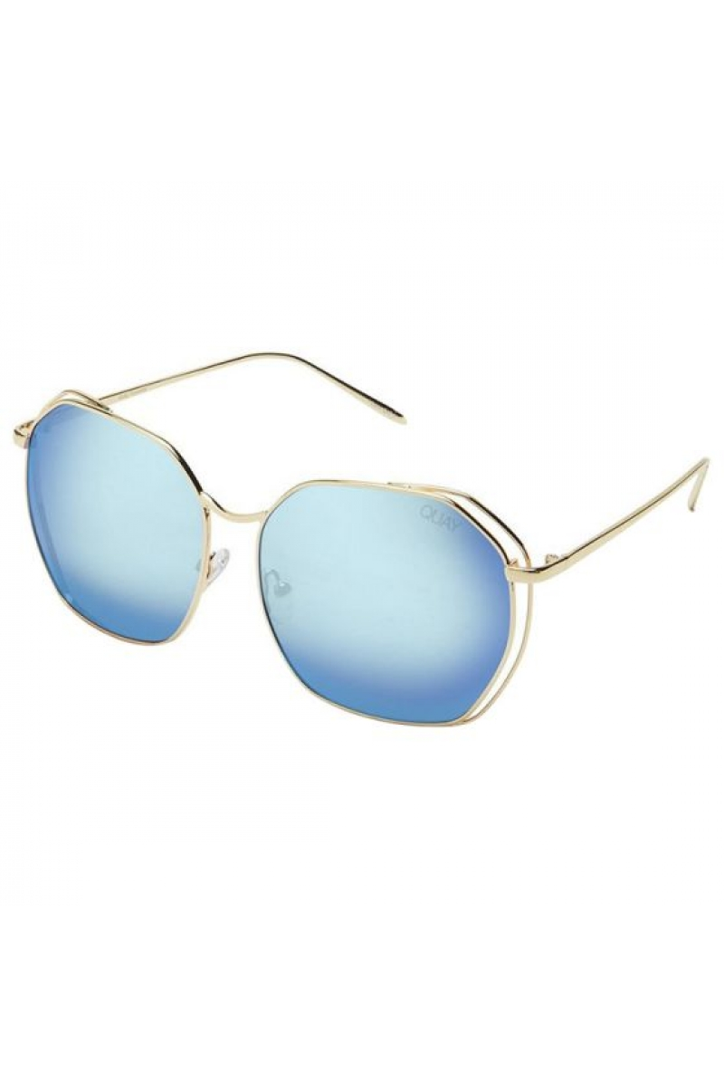 07392bee37786 Quay Australia Bae Gold and Blue Sunglasses
