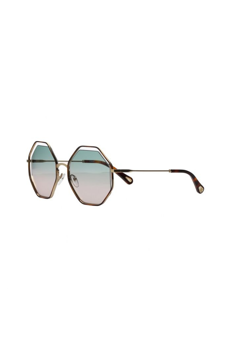 349872cbded Chloe - Poppy Geometric Green Rose   Gold Sunglasses