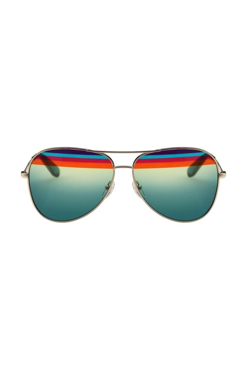 b1a5dfb28d Salvatore Ferragamo - Color Block Aviator Gradient Blue Green w  Rainbow  stripes   Shiny Gold Petrol Sunglasses